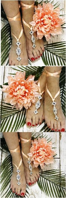 Peach wedding barefoot sandals, ribbon and silver rhinestones, wedding accessories