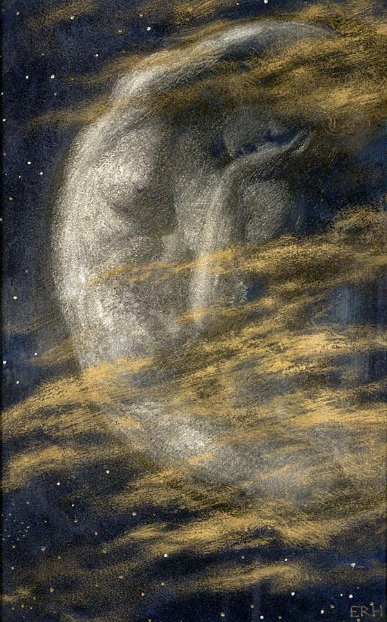 Conforme suceden los siguientes 13 o 15 días posteriores a la ovulación la luna interna decrece y la energía de nuestro cuerpo también.   Edward Robert Hughes (1851-1914), The Weary Moon.