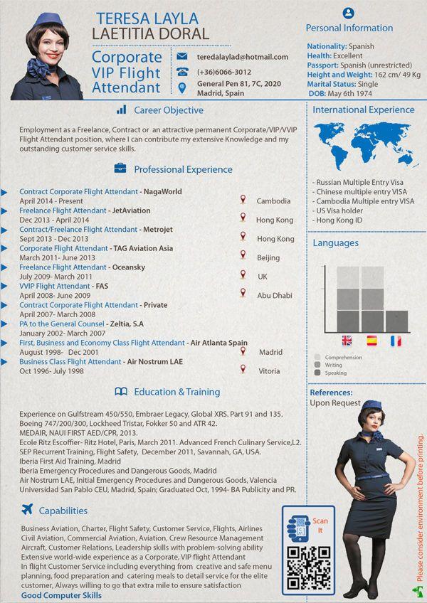 cv corporate flight attendant