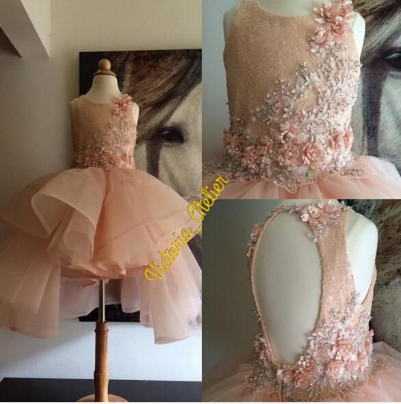 2016 Blush Beaded Lace Hi Lo Flower Girl Dresses Vintage Child Pageant Dresses Beautiful Flower Girl Wedding Dresses F061 Baby Party Dresses Childrens Bridesmaid Dresses From Weddingmall, $65.43| Dhgate.Com