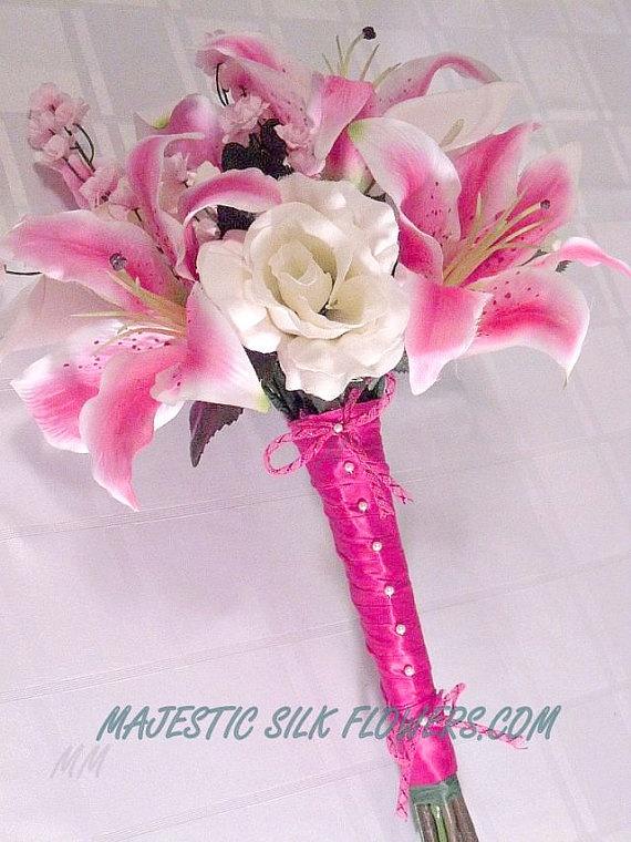 Hot Pink Stargazer Lily Bridal Bouquet // by MajesticSilkFlowers, $95.00