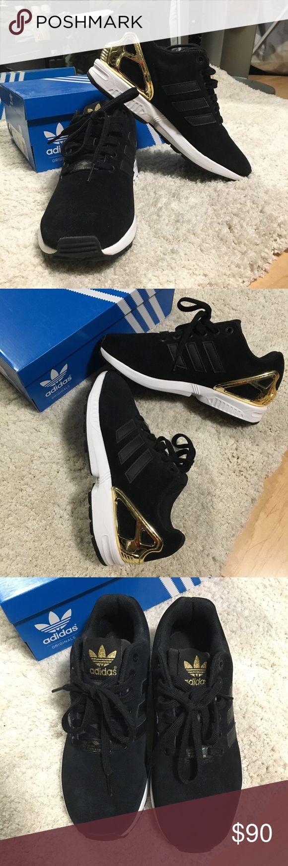 Adidas ZX Flux Black suede upper with gold heel cage Women's size 6 Brand New & comes with box Adidas Originals Shoes Sneakers