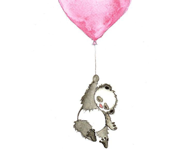 Panda Balloon, Animal Nursery Art, Nursery Print, Nursery Art, Baby Gift, Pink, Animal Art Print, Wall Art, Boys Nursery Decor, Girls Nursery Decor, by OneLittleBundle on Etsy