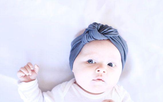 Slate Grey knoop tulband hoofdband voor babymeisje door MAMAOWLSHOP