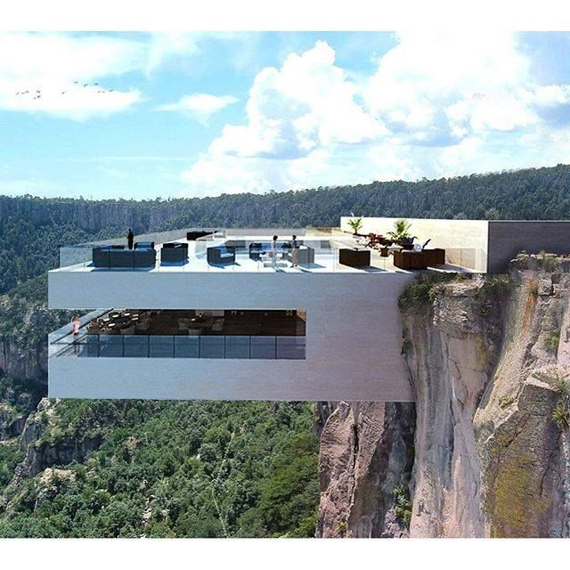 luxury complex emerging from the edge of Mexico's copper canyon