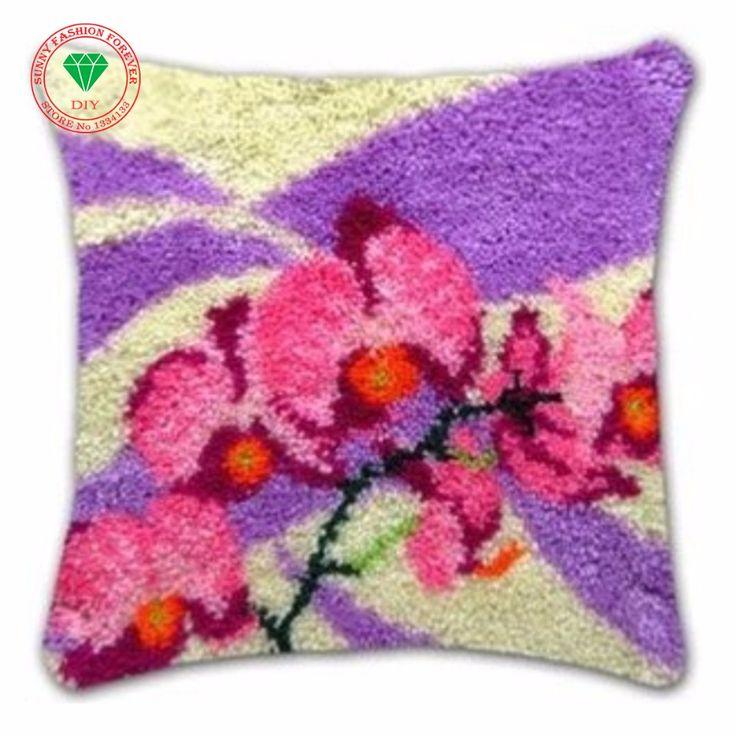Flowers Latch hook rug kits Needlework Pillowcase cross stitch thread embroidery kit Carpet embroidery Pillowcase crochet hooks #Affiliate
