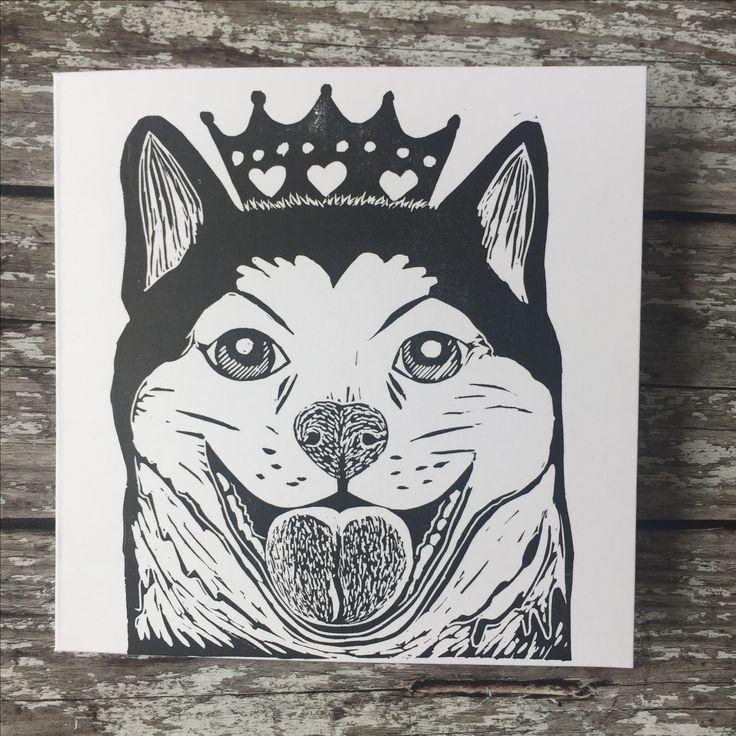 Shiba inu doge queen of sheeba lino print card