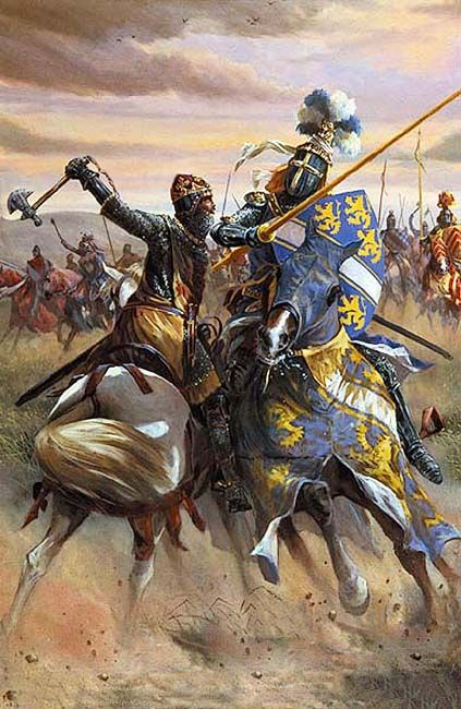 """""""On The first day of the Battle of Bannockburn, the King of Scots cleaves in two, the Great Helm (helmet) of a chivalrous English knight, with his mighty axe, in full view of his triumphant Scottish army, June 23th, 1314 AD"""""""