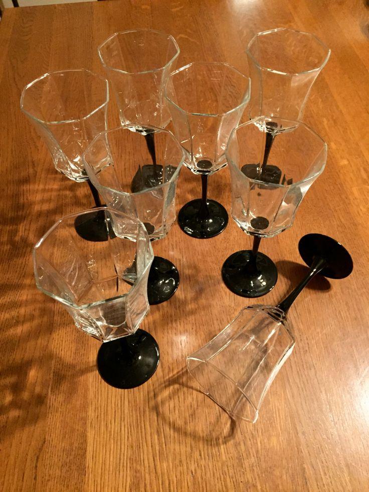 Vintage Arcoroc Set of 8 Water Goblets, Black Stem, Octime Pattern, Octagon shape 1980 France by Nanaslittlecottage on Etsy