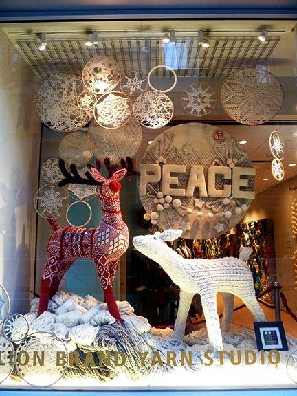 Lion Brand Yarn, Window Display, Reindeer, Christmas, Snowflakes, Star of David, New York, West 15th Street, Knit, Crochet, Yarn