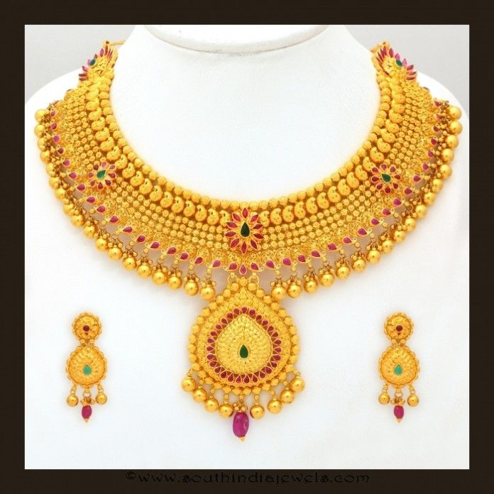 Indian Gold Jewellery Necklace Designs With Price: Gold Bridal Attigai Necklace Set From VBJ
