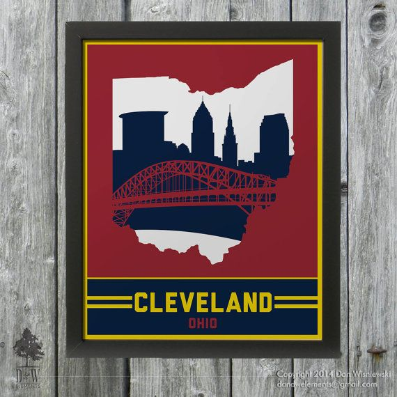 Cleveland, Ohio Skyline Poster Print: Wall Art Choose a ...