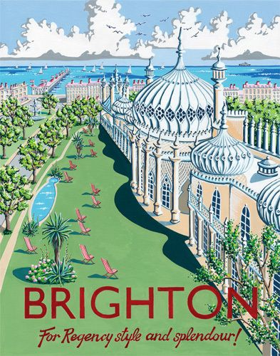 Vintage Travel Poster - Brighton - Pavilion - by Kelly Hall.