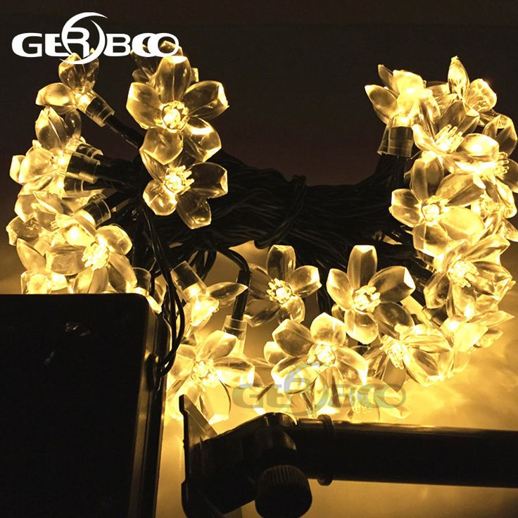 Solar LED Holiday Garlands String Lights 100Led Cherry Pendant Wedding Bouquet Party Lights Garden Decor Lamps Luces Solare #Affiliate