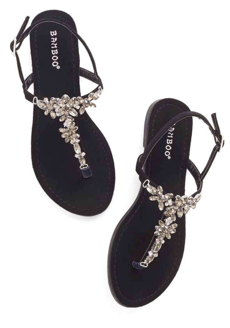 Shine Like You Mean It Sandal in Black. You wont have to convince your pals that you know all about standout style - these gemstone sandals prove it!  #modcloth