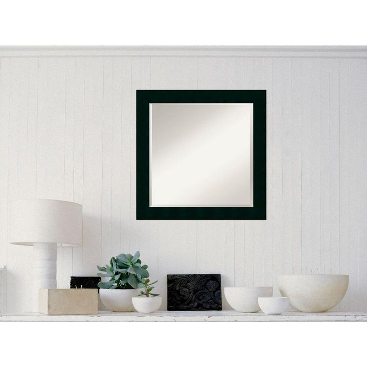 Tribeca Black Wood 24 in. W x 24 in. H Contemporary Framed Mirror