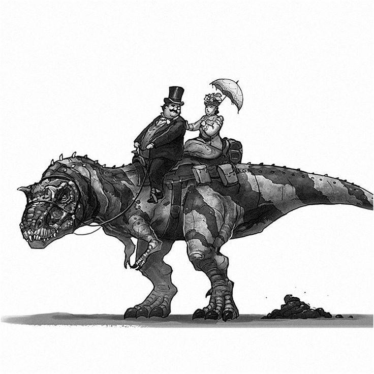 Old West Dinosaurs. The Couple And The Gorgosaurus