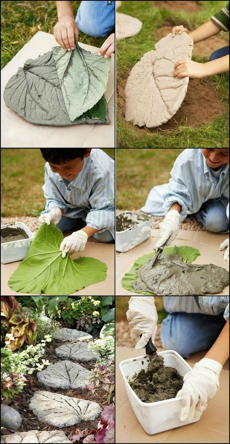 Diy leaf shaped stepping stones http for Diy stone projects