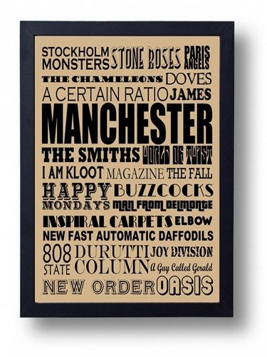 Manchester Musical Heritage Typography Wall Art by indieprints, $15.00