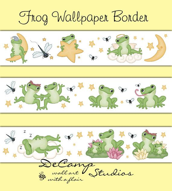 Frog Wallpaper Border Wall Decals for baby boy or girl nursery or children's froggy room decor. Frog on the moon, angel frog, sleeping on the lilypad, dancing frogs, and many other poses with dragonflies, flies, and stars #decampstudios