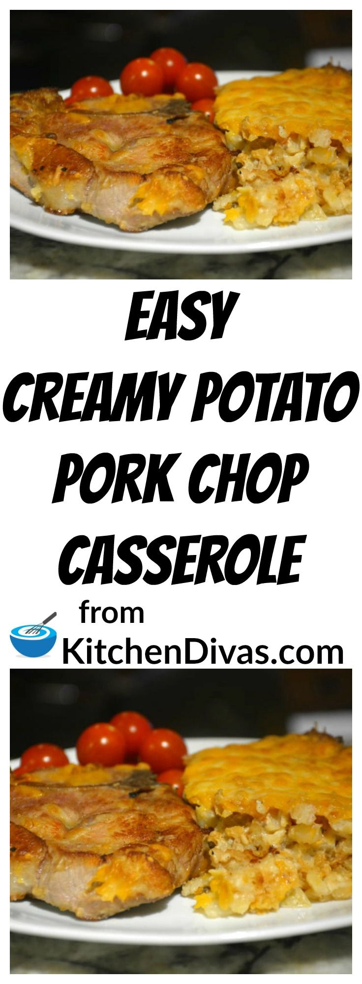 This is a delicious one pan meal to serve any night of the week. Both creamy and cheesy, how can you go wrong? Easy Creamy Potato Pork Chop Casserole is a recipe you will make over and over again!