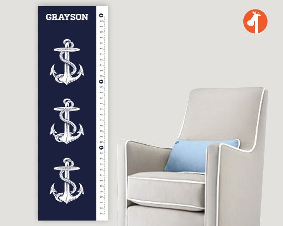 Personalized Growth Chart  - Antique  Anchors Nautical Growth Chart,  Height Chart, art for nautical themed nursery