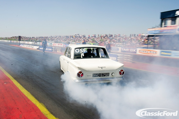 Andy Jessup's Mk1 Cortina taking part in the 2012 Old Skool Ford Drag Challenge, from the August 2012 issue of Classic Ford. Photo: Jon Hill
