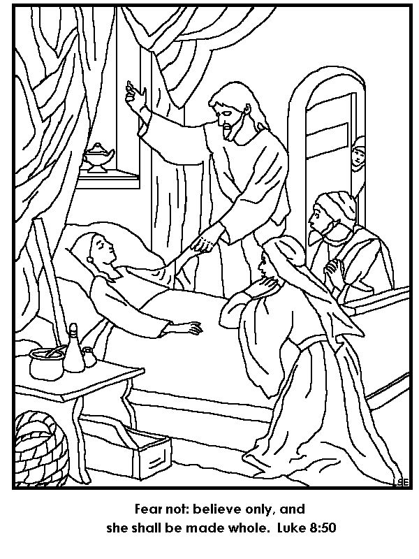coloring pages of jesus life | Jesus Restores Jairus' Daughter To Life Coloring Page ...