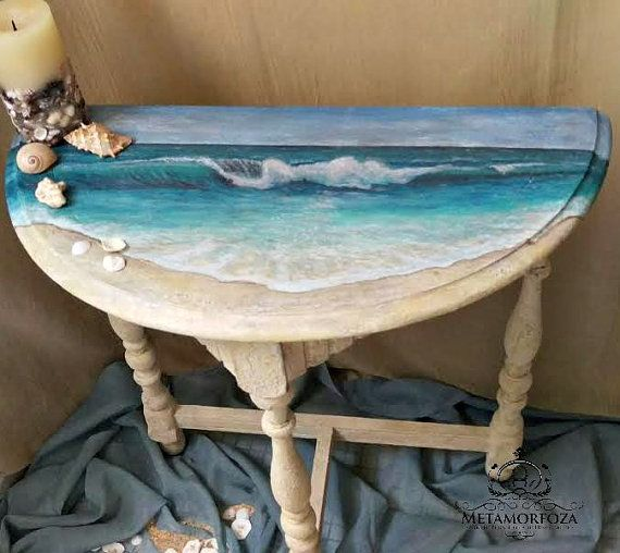 Demi Luna Seascape Freehand painted Table by MetamorfozaFurniture $125