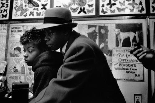 Rene Burri - couple watching performance in a flea cirus, 42nd Street, NYC