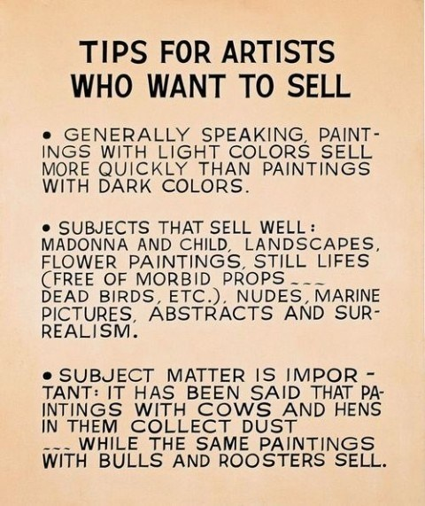 12 best images about sell art on pinterest crafts john tips for artists who want to sell by john baldessari 1966 68 publicscrutiny Image collections