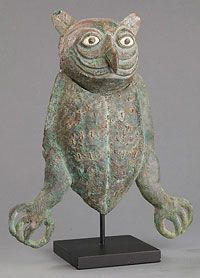 Owl effigy made of copper,stone and shell. Moche culture.  The University of Arizona Museum of Arts