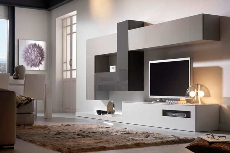 Composición modular de 360 cm de largo y 45 cm de fondo. Destacar la combinación del blanco brillo en la parte baja con el gris perla brillo y gris pizarra brillo de los módulos altos.