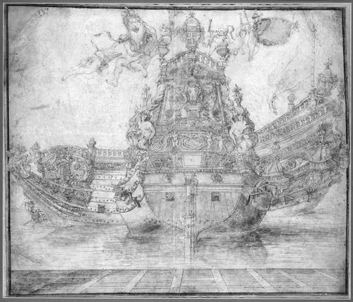 """Dessin pour la décoration d un vaisseau de ligne"""", par Pierre Puget (1620-1694)"""