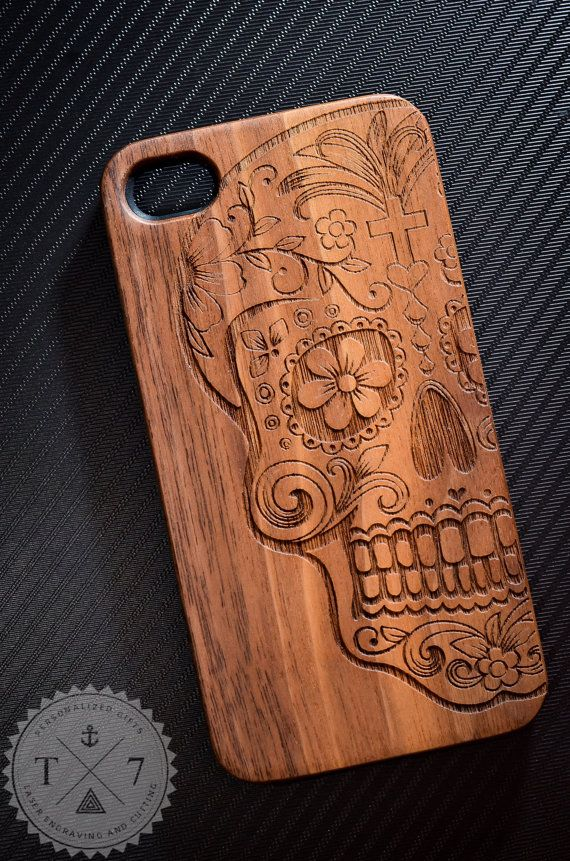 Sugar Skull Wooden iPhone 4/4s iPhone 5/5s case walnut bamaboo wood iphone case on Etsy, $19.99