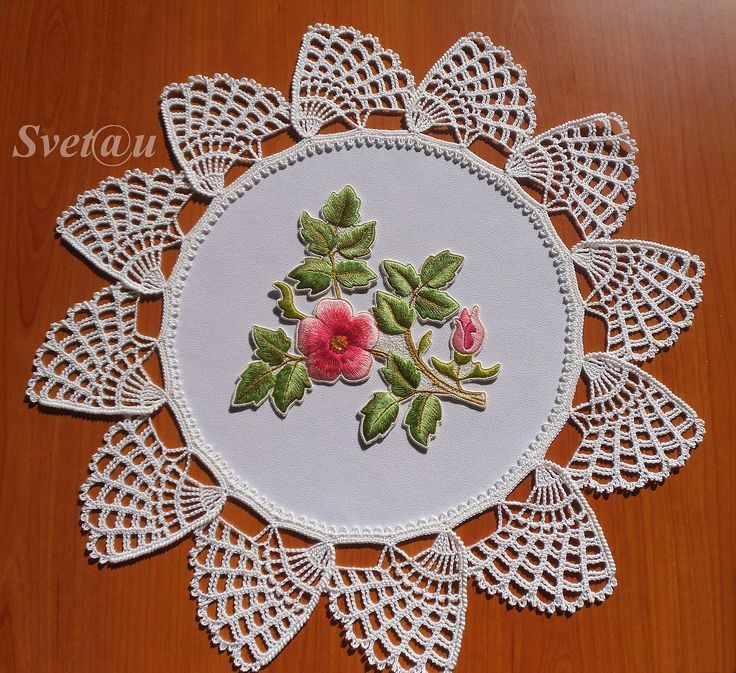 Doily was crocheted and embroi