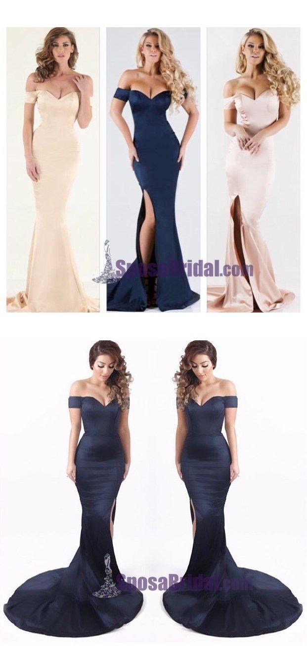 Off Shoulder Navy Mermaid Prom Dresses, Side Split Sexy Formal Prom Dresses, Evening dress, PD0649