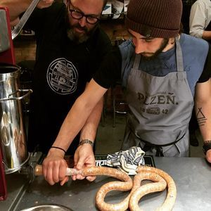 Who knew a sausage party could be so fun? Mr Bones, a Master sausage maker teaches Corey how to get tubed. #keepersofthecraft #sausage #pilsnerurquellnz #maker #craft #original #pilsner #leather #wallet #surfboard #skateboard #snowboard #surfgood