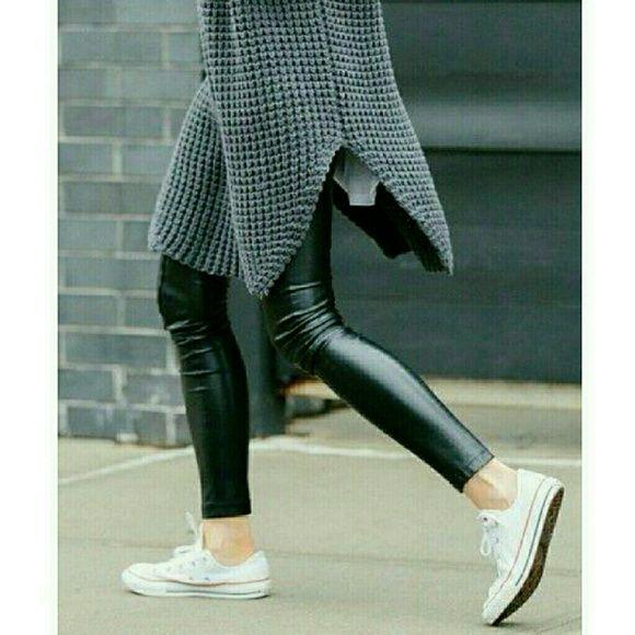 Vegan Leather Panel Leggings Semi shine leggings in black vegan leather. Stretchy spandex makes it a comfortable fit. Ankle length. Mid rise waist band. Wild Bella Pants Leggings