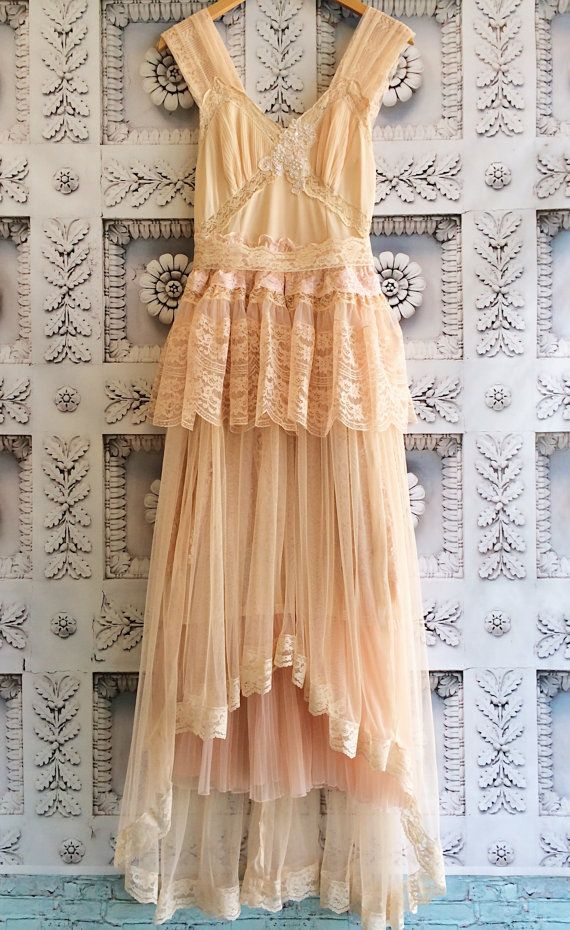 One of a kind special occasion dress.    The top of this dress is blush nylon with knife pleat chiffon & lace cups, & alencon lace appliqué &