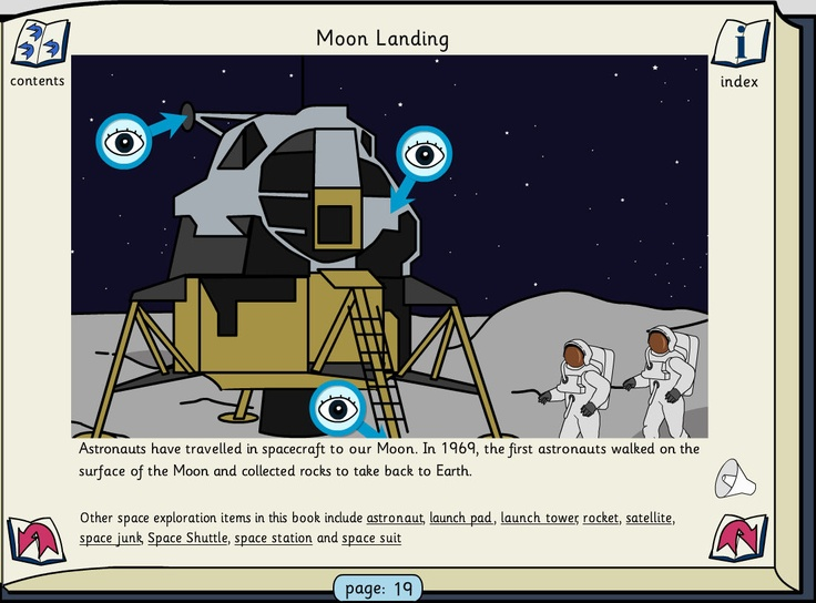 Space: This book contains information about space and space exploration. Pupils can either listen to or read the text. The links in the text will navigate to other pages containing related items. Click on the 'eye' to see a pop-up of a feature with its definition.
