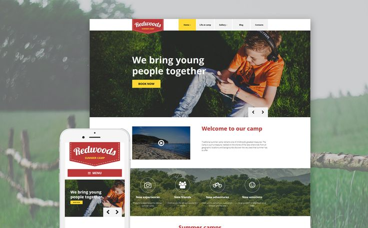 Redwoods WordPress Theme  This theme was developed for kids summer camp. The author uses decorative stitches, which impart a unique charm to Summer Camp WordPress Template's layout. Header slider and the embedded video tell the visitors about the camp lif http://templates.jrstudioweb.com/