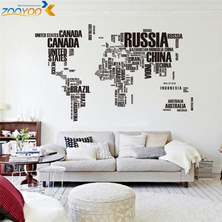 Творческие письма карта мира настенные наклейки украшения дома офис гостиная zooyoo95ab adesivo де parede пвх переводные картинки фреска искусство купить на AliExpress