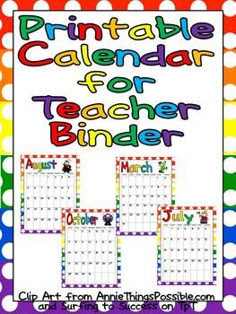 This FREE colorful month-by-month calendar can easily be printed to add to your lesson plan binder!!Month By Month Calendar, Lessons Plans Binder, Binder Organization, Teacher Binder, Free Colors, Colors Month By Month, Lesson Plans, Reading Logs, Printable Calendars