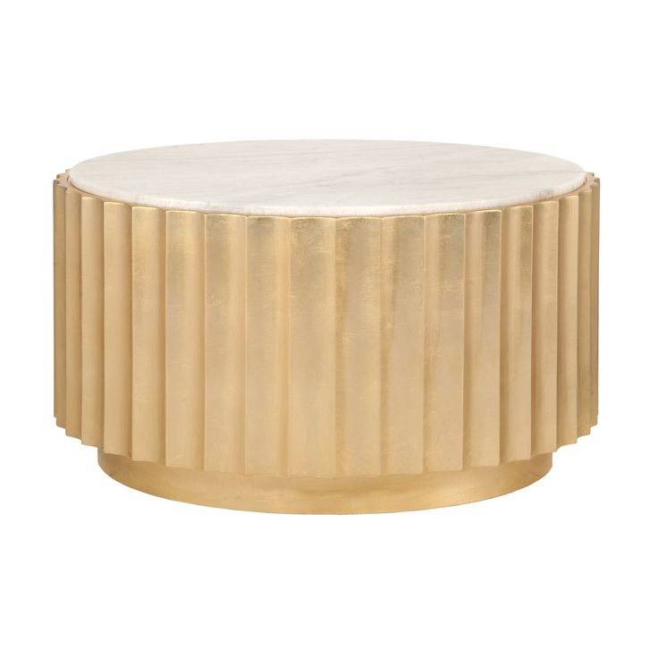 Clove G   Gold Leaf Scalloped Round Coffee Table With White Marble Top.  #coffeetabledesign