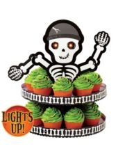 Light-Up Skeleton Cupcake Stand-Party City Halloween Party On
