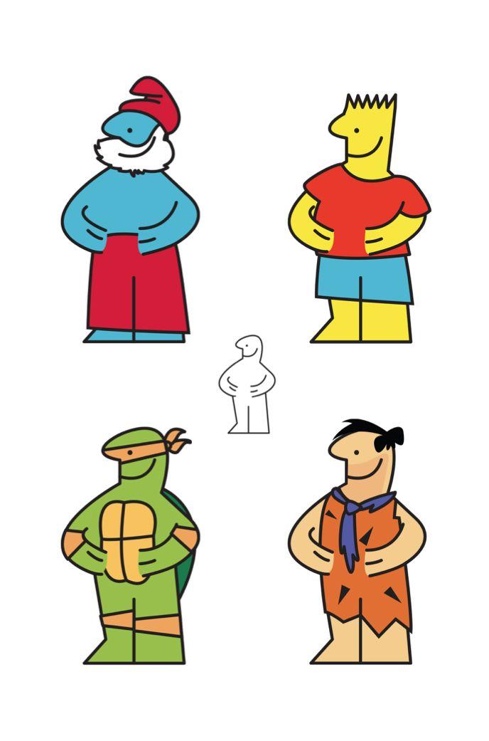 Ikea man coloured as Papa Smurf, Bart Simpson, Mechaelangelo the ninja turtle and Fred Flinstrone.