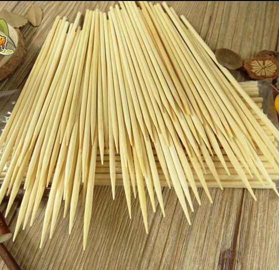 200 pcs/lot 4mm * 30 cm Pesta BBQ Tusuk Sate Bambu Kayu Pakai Tongkat BBQ alat Barbekyu TUSUK SATE BAMBU alami stiker
