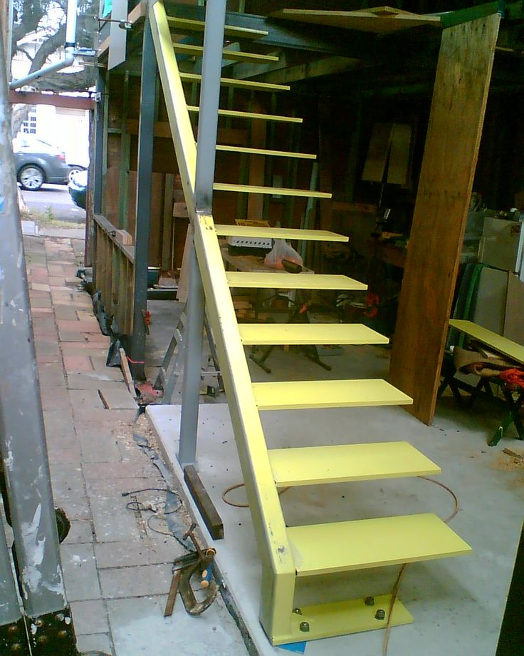 Steel cantilever stairs.