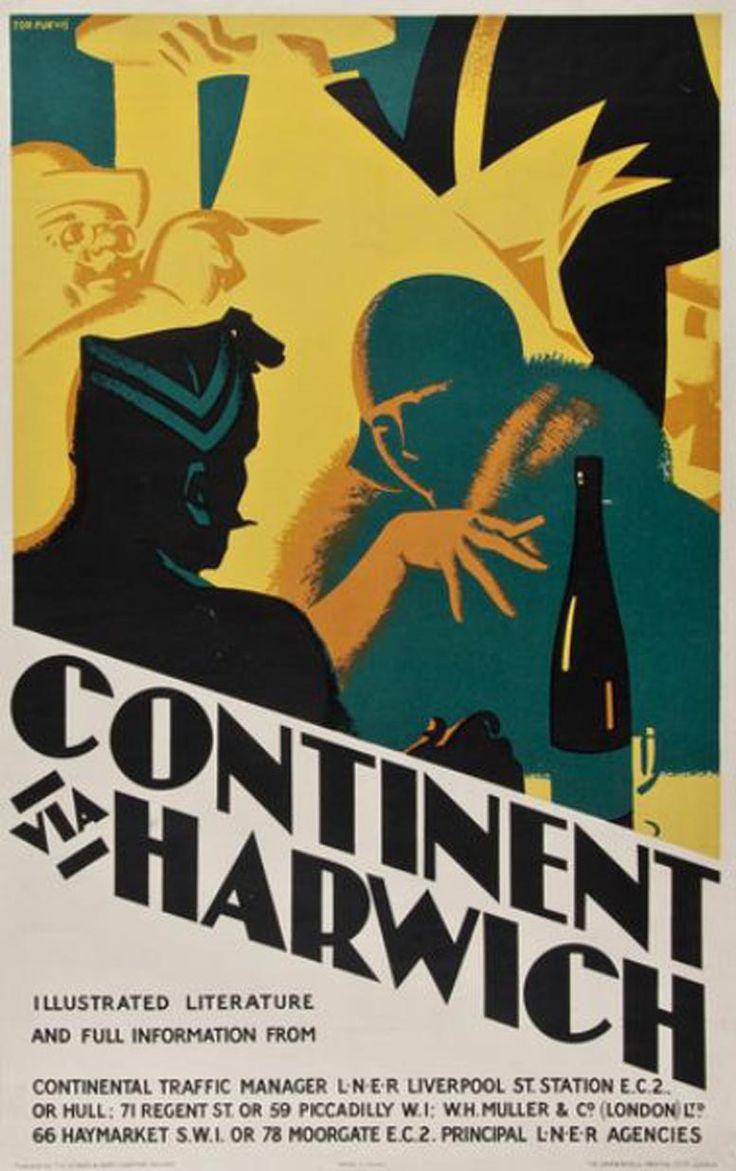 Continent Via Harwich -  L.N.E.R. Poster, Tom Purvis